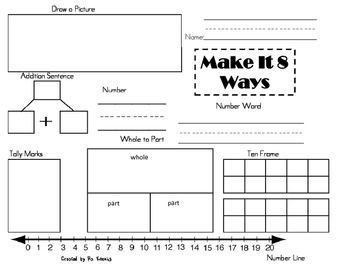 Common Core Math:  Make It 8 Ways (3 worksheets)