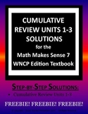 Math Makes Sense 7 WNCP Edition - Cumulative Review Units 1-3 Solutions Manual