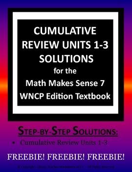 Math Makes Sense 7 WNCP Edition - Cumulative Review Units
