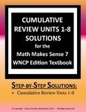 Math Makes Sense 7 WNCP Edition - Cumulative Review Units 1-8 Solutions Manual