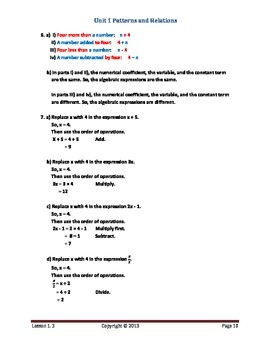 Math Makes Sense 7 WNCP Edition - Unit 1:Patterns & Relations - Solutions Manual