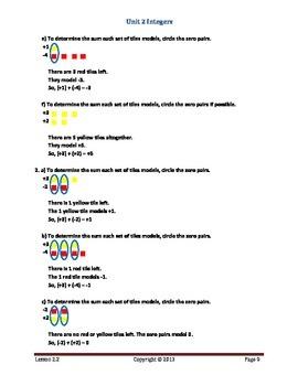 Math Makes Sense 7 WNCP Edition - Unit 2: Integers - Solutions Manual