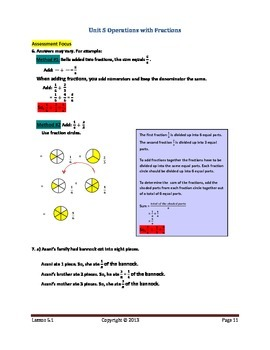 Math Makes Sense 7 WNCP Edition - Unit 5: Operations with Fractions - Solutions