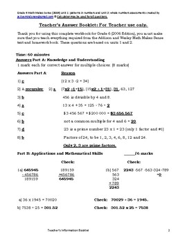 Math Makes Sense Grade 6 Unit 1 and 2 Assessments with EQAO Connections