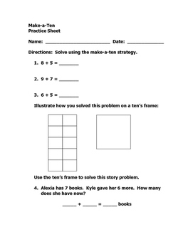 Math Making 10 Addition Strategy Lesson Plan and Materials, Grades 1 or 2