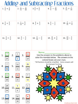 Math Mandala: Adding and Subtracting Fractions