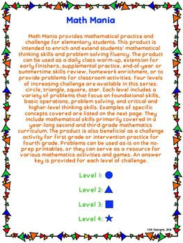 Math Mania - Extend & Enrich Critical Thinking & Problem Solving - Level 2