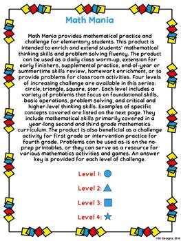 Math Mania - Extend & Enrich Critical Thinking & Problem Solving - Level 3