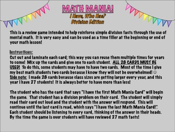 Math Mania- I Have, Who Has? Division Edition!