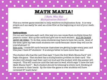 Math Mania- I Have, Who Has? Multiplication Edition!