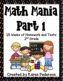 Math Mania- Part 1-15 Weeks of Homework and Tests for 2nd Grade-CC Aligned