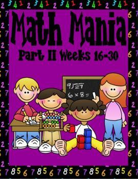 Math Mania Part II-Weeks 16-30 Homework and Tests