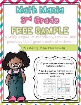 Math Mania- Weekly Math Practice- FREEBIE Sample