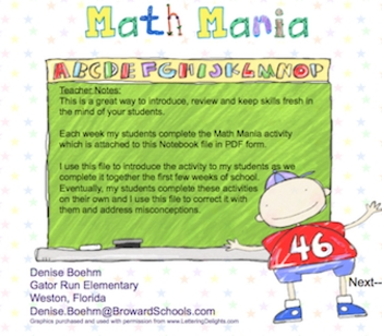 Math Mania Weekly Math Review