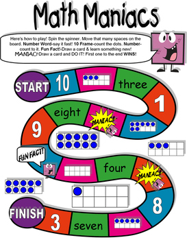 Math Maniacs Counting and Cardinality Board Game