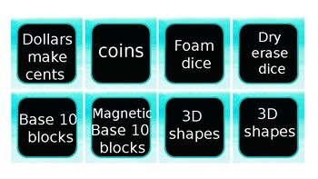 Math Manipulative & 3rd Grade TEK Labels *Fully Editable Turquoise / Teal