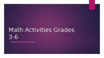 Math Manipulative Activities Grades 3-6