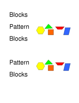 Math Manipulative Basket Labels with pictures