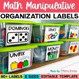 Math Manipulative Bin Labels | Print and Editable Versions