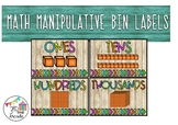 Math Manipulative Bin Labels (Wood and Neon)