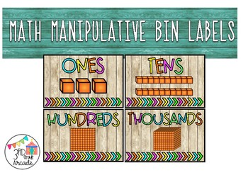 Math Manipulative Bin Labels (Wood and Neon)