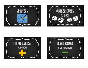 Math Manipulative Chalkboard Labels