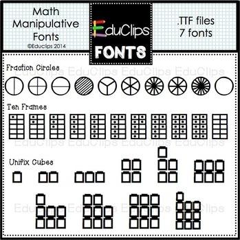 Math Manipulatives Fonts {Educlips Clipart}
