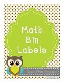 Math Manipulative Label Bins