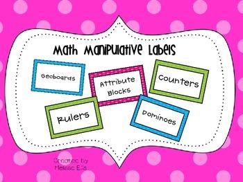 Classroom Labels:  Math Manipulatives