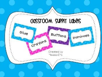 Classroom Decor:  Supply Labels - Bright Colors