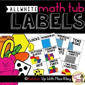 Math Tub/ Manipulative Labels- ALL White Background
