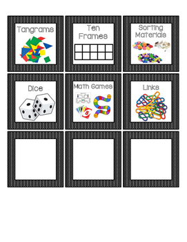 Math Manipulative Labels - Black and White