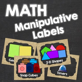 Math Manipulative Labels {Burlap and Chalkboard}