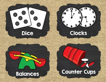 Math Manipulative Labels {Burlap and Chalkboard}