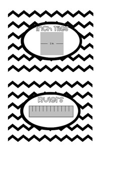 Math Manipulative Labels (Chevron, Greyscale, 4X6)