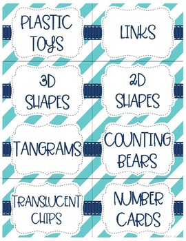 Math Manipulative Labels - Editable