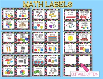 Math Labels For Your Manipulatives * Editable Option Included