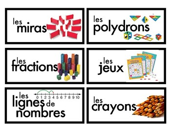 Math Manipulative Labels - French