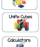 Math Manipulative Labels/Math Salad Bar Labels