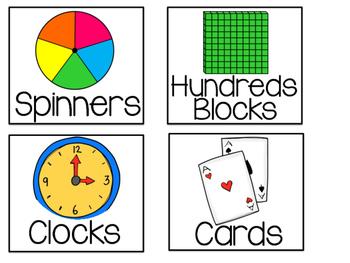 Square Math Manipulative Labels