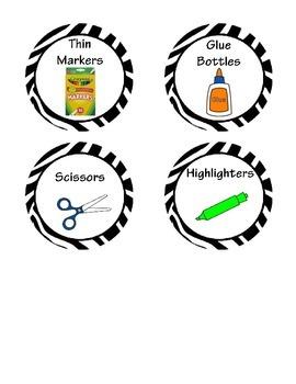 Math Manipulative Labels Zebra Print