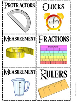 Math Manipulative Labels for Target Square and Rectangular Adhesive Pockets