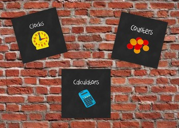 Math Manipulative Labels in Chalkboard Style