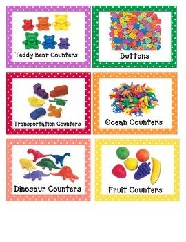 Math Manipulative Labels (polka dot theme)
