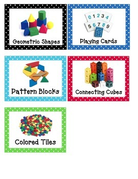 Math Manipulative Labels (polka dot theme)
