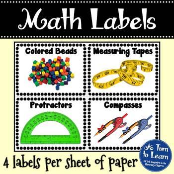 Math Manipulative Picture Labels