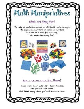 FREE Math Manipulative Care Poster