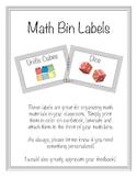 Math Manipulative Storage Labels