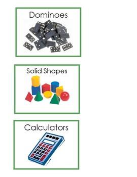 Math Manipulative Supply Bins Labels