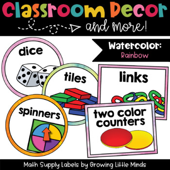 Math Manipulative Supply Labels- Rainbow Watercolor theme classroom decor